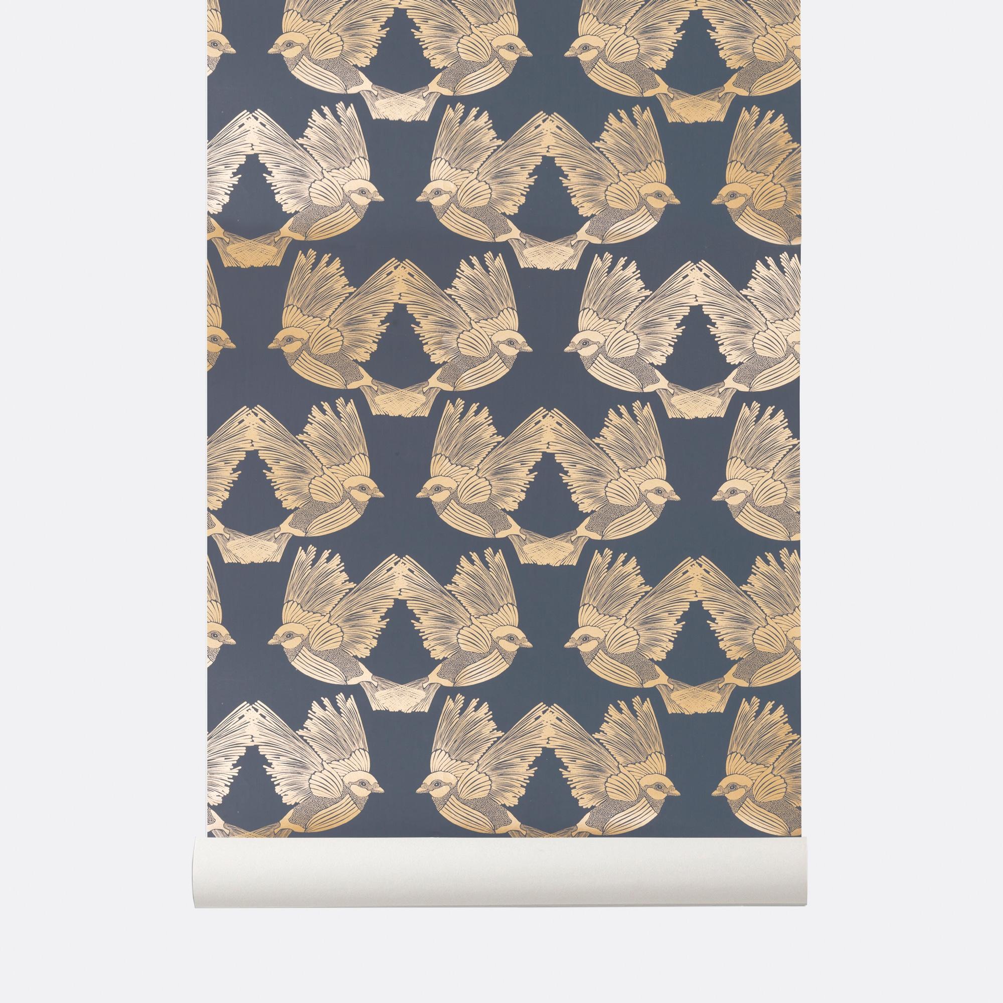 Image of   Birds - Deep Blue / Gold