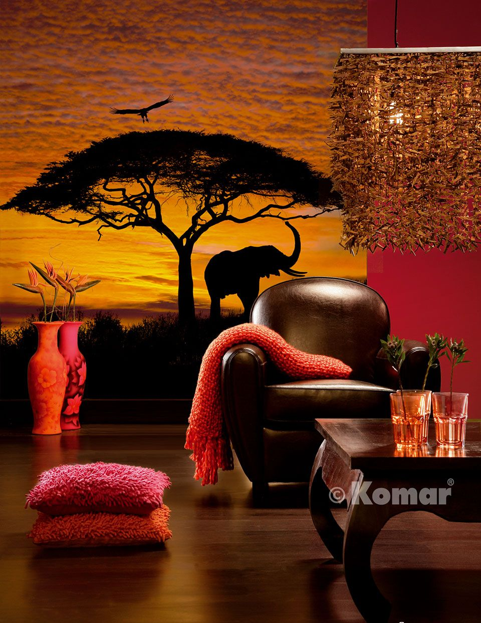 Image of   African sunset 304-501 - Fototapet savanne