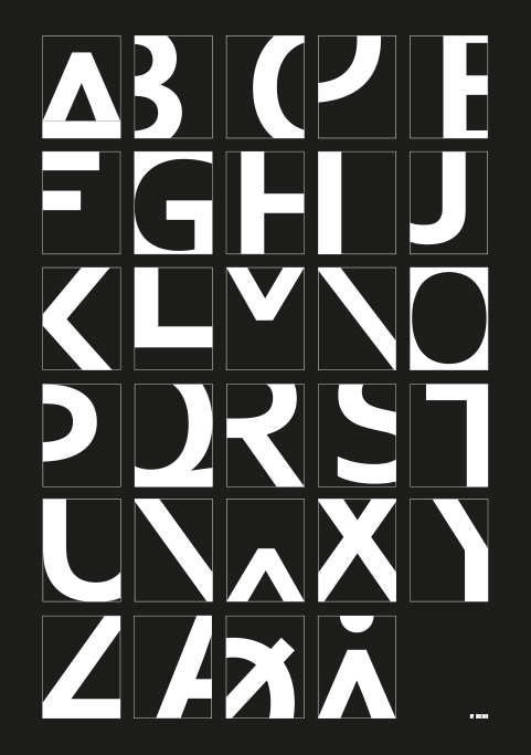 Image of   Alphabet - Black-50 x 70