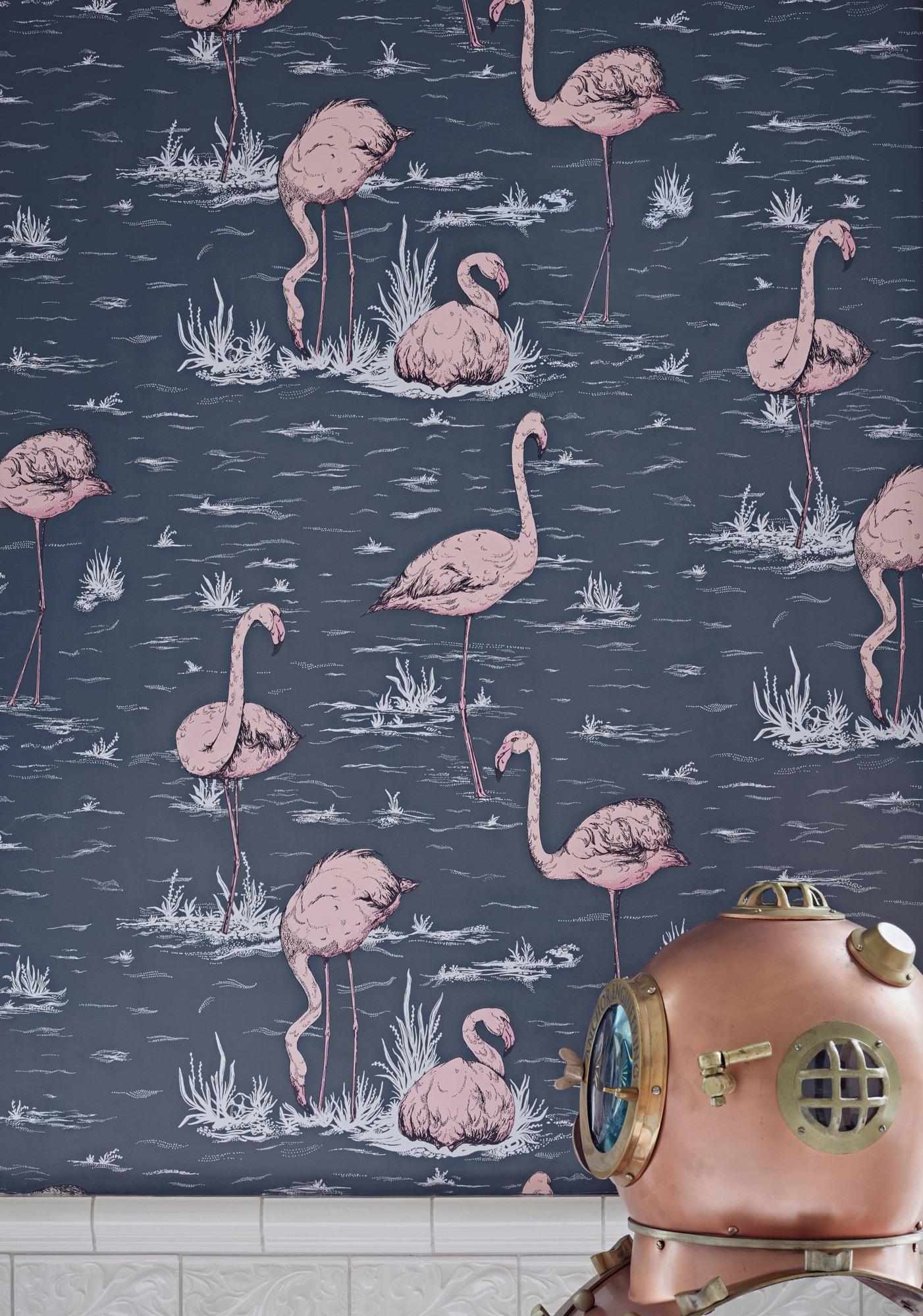 Image of   Flamingos - Ink & Alabaster Pink